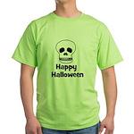 Happy Halloween (skull) Green T-Shirt
