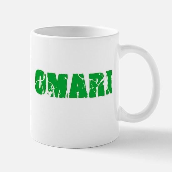Omari Name Weathered Green Design Mugs