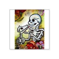 "Unique Cat skull Square Sticker 3"" x 3"""