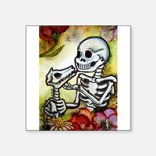 "Cute Skeletons Square Sticker 3"" x 3"""