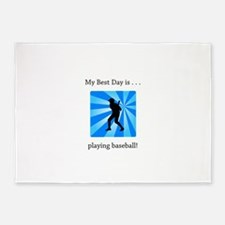 Best Day Playing Baseball Gifts 5'x7'Area Rug