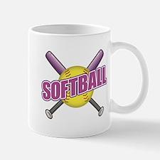 Crossed Bats Softball Mugs