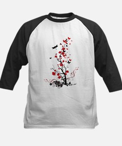 Black and Red Flowers Baseball Jersey
