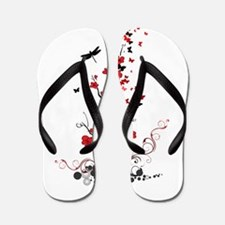 Black and Red Flowers Flip Flops