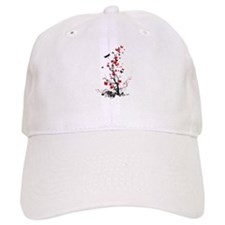 Black and Red Flowers Baseball Cap
