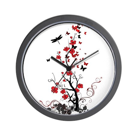 Black and red flowers wall clock by admin cp38943689 for Red and black wall clock
