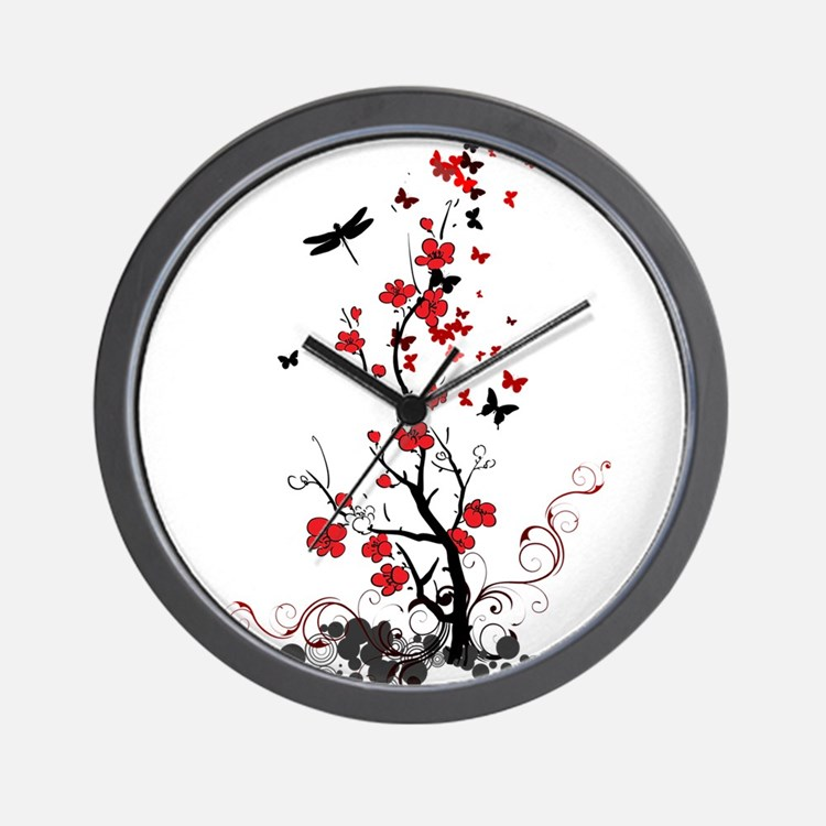 Black and red clocks black and red wall clocks large for Red and black wall clock