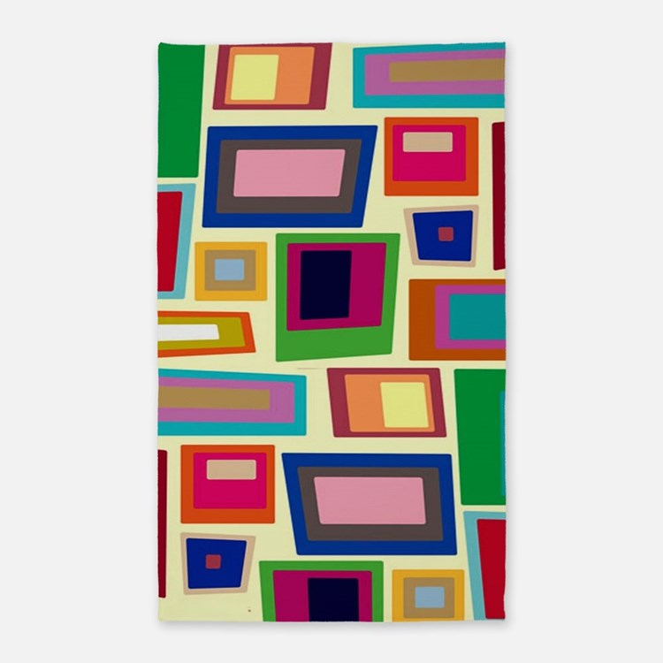 Colorful Square Mid Century Modern Area Rug