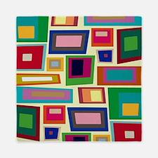 Colorful Square Mid Century Modern Queen Duvet