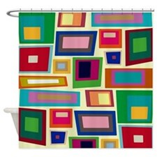 Colorful Square Mid Century Modern Shower Curtain