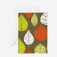 Leaves on Green Mid Century Modern Greeting Cards