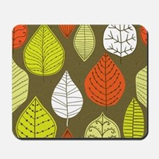 Leaves on Green Mid Century Modern Mousepad