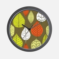 Leaves on Green Mid Century Modern Wall Clock