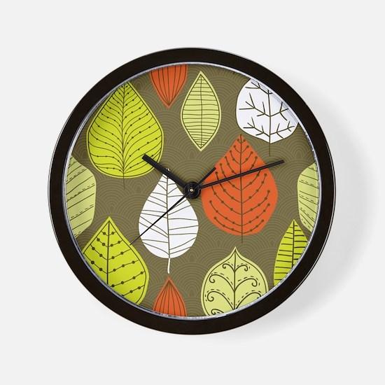 Leaves on Green Mid Century Modern Wall Clock