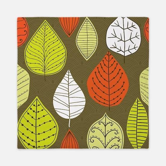 Leaves on Green Mid Century Modern Queen Duvet