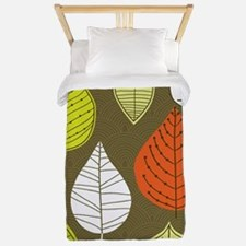 Leaves on Green Mid Century Modern Twin Duvet