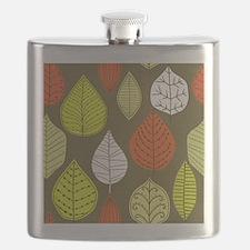 Leaves on Green Mid Century Modern Flask