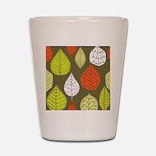 Leaves on Green Mid Century Modern Shot Glass