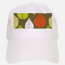 Leaves on Green Mid Century Modern Baseball Baseball Baseball Cap