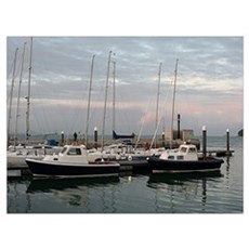 Sunset and boats, Isle of Wight Poster