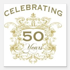 "50th Wedding Anniversary Square Car Magnet 3"" x 3"""