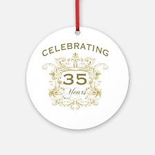 35th Wedding Anniversary Round Ornament