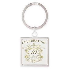 10th Wedding Anniversary Square Keychain
