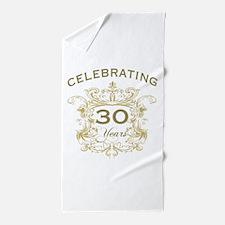 30th Wedding Anniversary Beach Towel