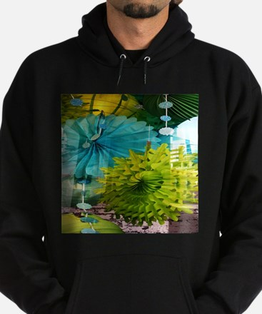 mint lime green teal abstract Hoodie (dark)