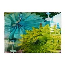 mint lime green teal abstract 5'x7'Area Rug