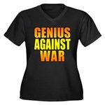 Genius Against War Women's Plus Size V-Neck Dark T