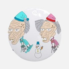 micchiee / old people / ski Round Ornament