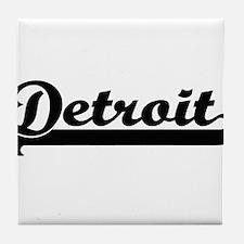 Detroit Michigan Classic Retro Design Tile Coaster