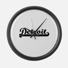 Detroit Michigan Classic Retro De Large Wall Clock