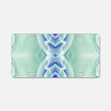 ombre mint blue geometric f Aluminum License Plate