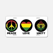 PEACE LOVE UNITY Reggae lion Aluminum License Plat