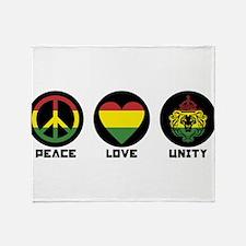 PEACE LOVE UNITY Reggae lion Throw Blanket