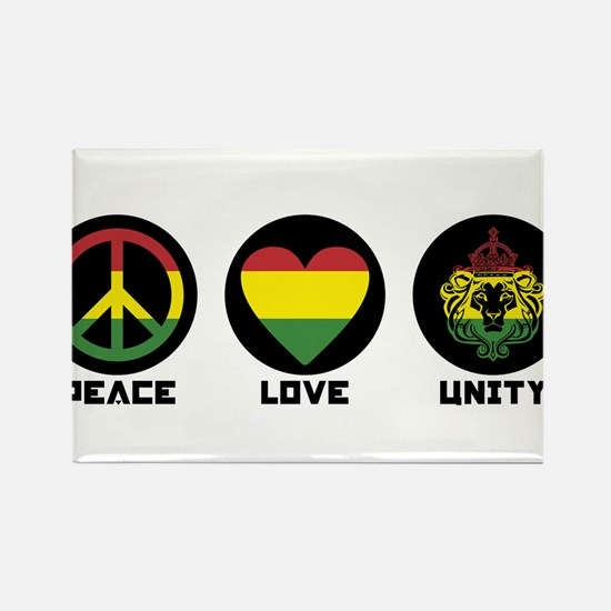 PEACE LOVE UNITY Reggae lion Magnets