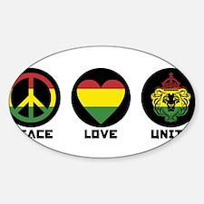 PEACE LOVE UNITY Reggae lion Decal