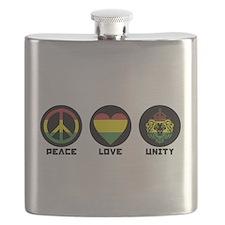 PEACE LOVE UNITY Reggae lion Flask