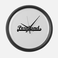 Portland Oregon Classic Retro Des Large Wall Clock