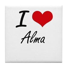 I Love Alma artistic design Tile Coaster