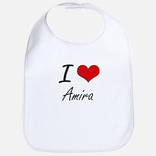 I Love Amira artistic design Bib