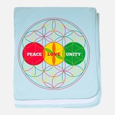 PEACE LOVE UNITY - flower of life baby blanket
