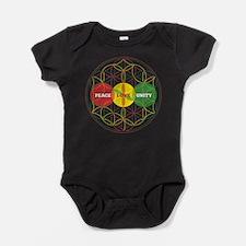PEACE LOVE UNITY - flower of life Baby Bodysuit