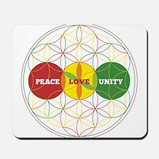 PEACE LOVE UNITY - flower of life Mousepad