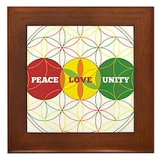 PEACE LOVE UNITY - flower of life Framed Tile