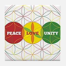 PEACE LOVE UNITY - flower of life Tile Coaster