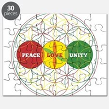 PEACE LOVE UNITY - flower of life Puzzle