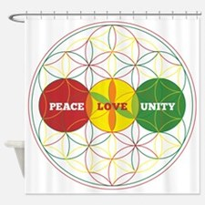 PEACE LOVE UNITY - flower of life Shower Curtain